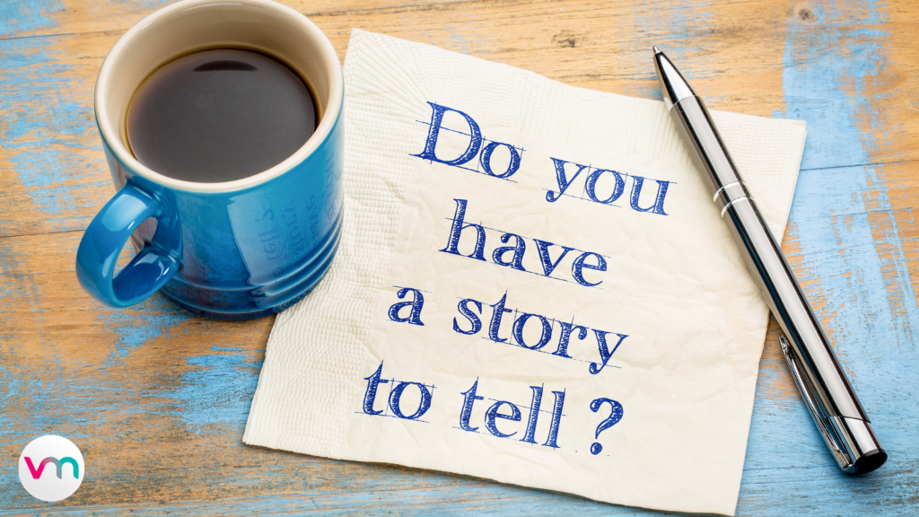 storytelling, coffee cup and pen